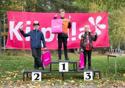 KiipMTB poikien sarjan 6 km kolme parasta palkintokorokkeella.